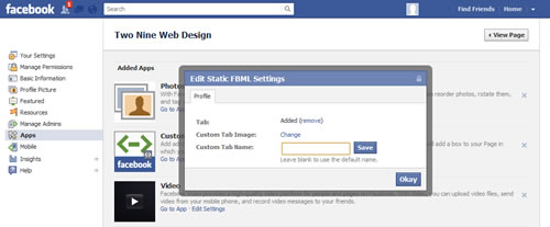 Facebook custom app icon - change custom tab image